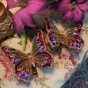 Set of 2 blown glass butterflies